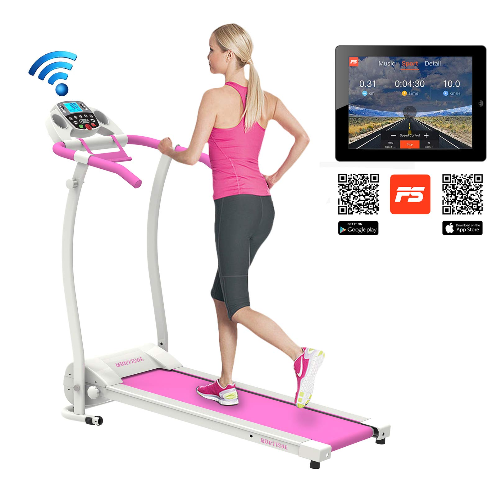 Murtisol 1.5HP Folding Treadmill Electric Walking Running Exercise Machine with Smart Phone APP,Easy Control Home Fitness Trainer Equipment,Pink