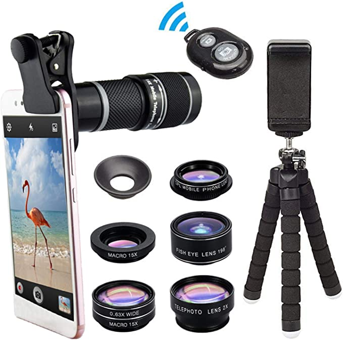 8 In 1 Universal Cell Phone Camera Lens Kit,Clip On Smartphone 18X ...