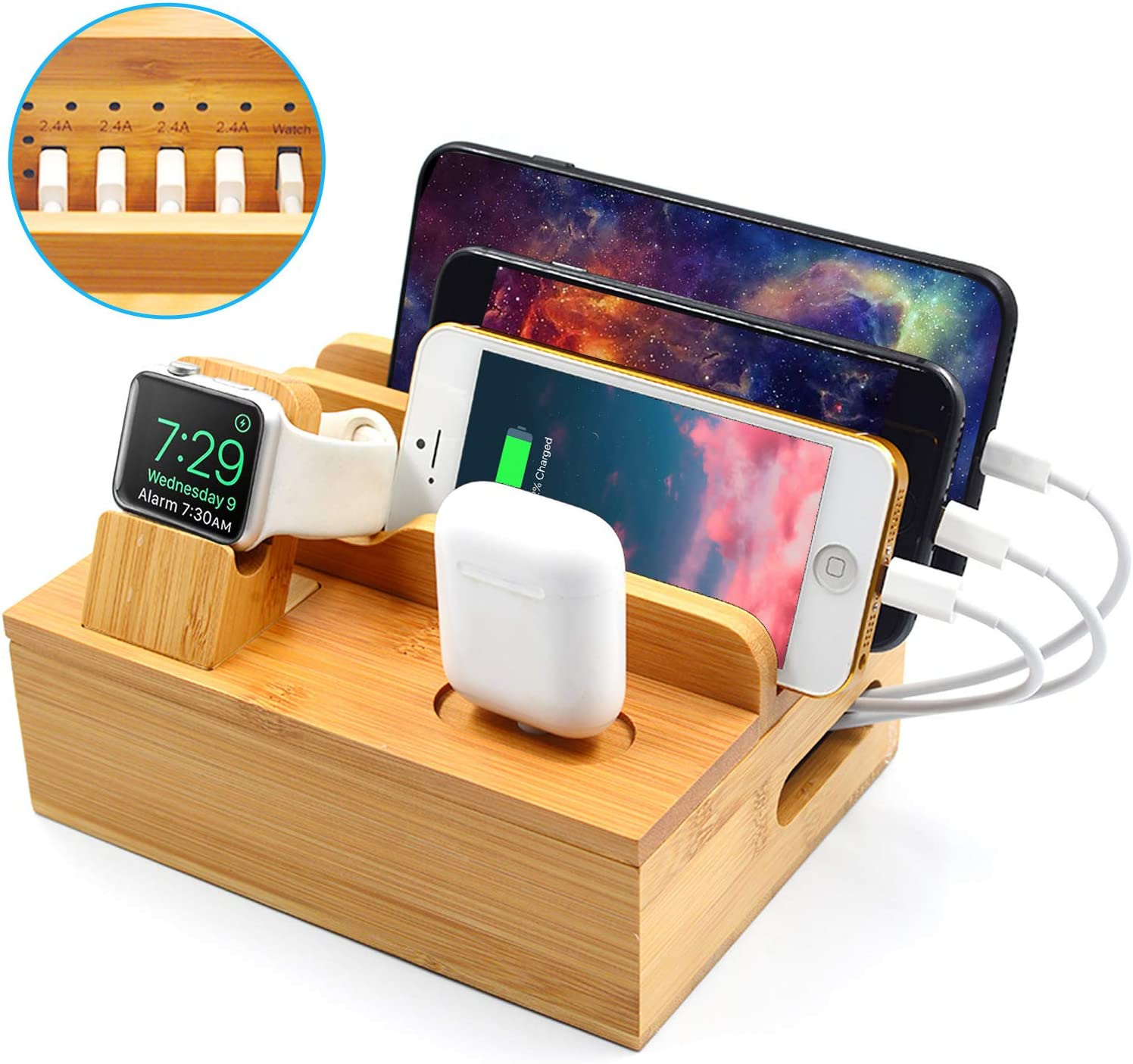 SETROVIC Bamboo Charging Dock, Wood 6 Port Charger Stand Fast USB Charging Station for Multiple Devices, Compatible Apple Watch Airpods Smartphone