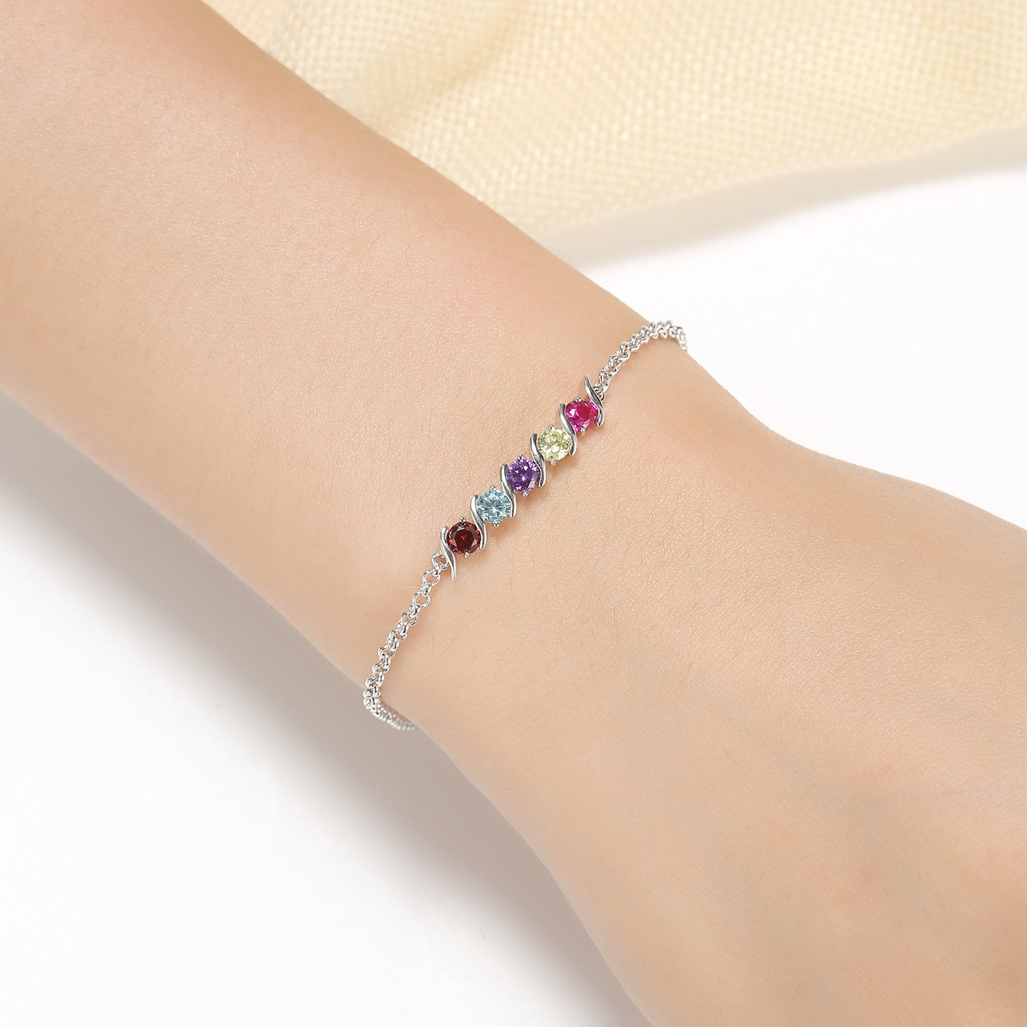 Caperci 925 Sterling Silver Round Shaped Multi-Gemstones Adjustable Link Tennis Bracelet for Women by Caperci (Image #3)