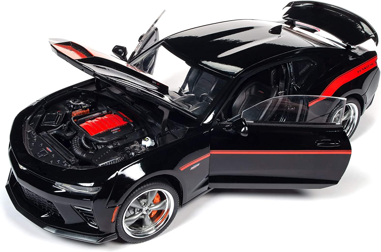 2018 Chevrolet Camaro Yenko/SC Stage I Coupe Black with Orange Stripes Limited Edition to 300 Pieces Worldwide 1/18 Diecast Car by Autoworld AW257