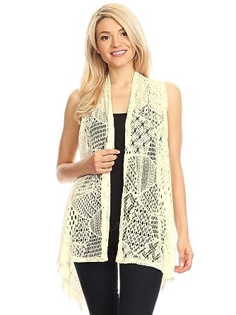895ed1c8eb Anna-Kaci Womens Sleeveless Open Front Crochet Shawl Cardigan Bikini Cover  Up, Beige,