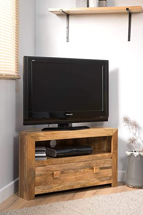 Casa Bella Furniture Dakota luz Mango pequeño Mueble de Esquina para televisor/Armario/Soporte – Indian Sala de Estar Muebles: Amazon.es: Hogar