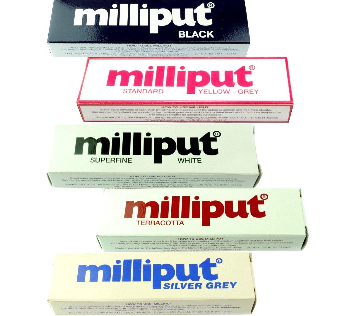 5 x Milliput Epoxy Putty, 1x Silver-Grey, 1x Yellow-Grey, 1x Superfine White, 1x Black, 1x Terracotta. Modelling Car Body Boat. (X8131) Free UK Postage Proops