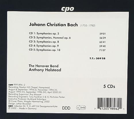 Johann Christian Bach Anthony Halstead The Hanover Band