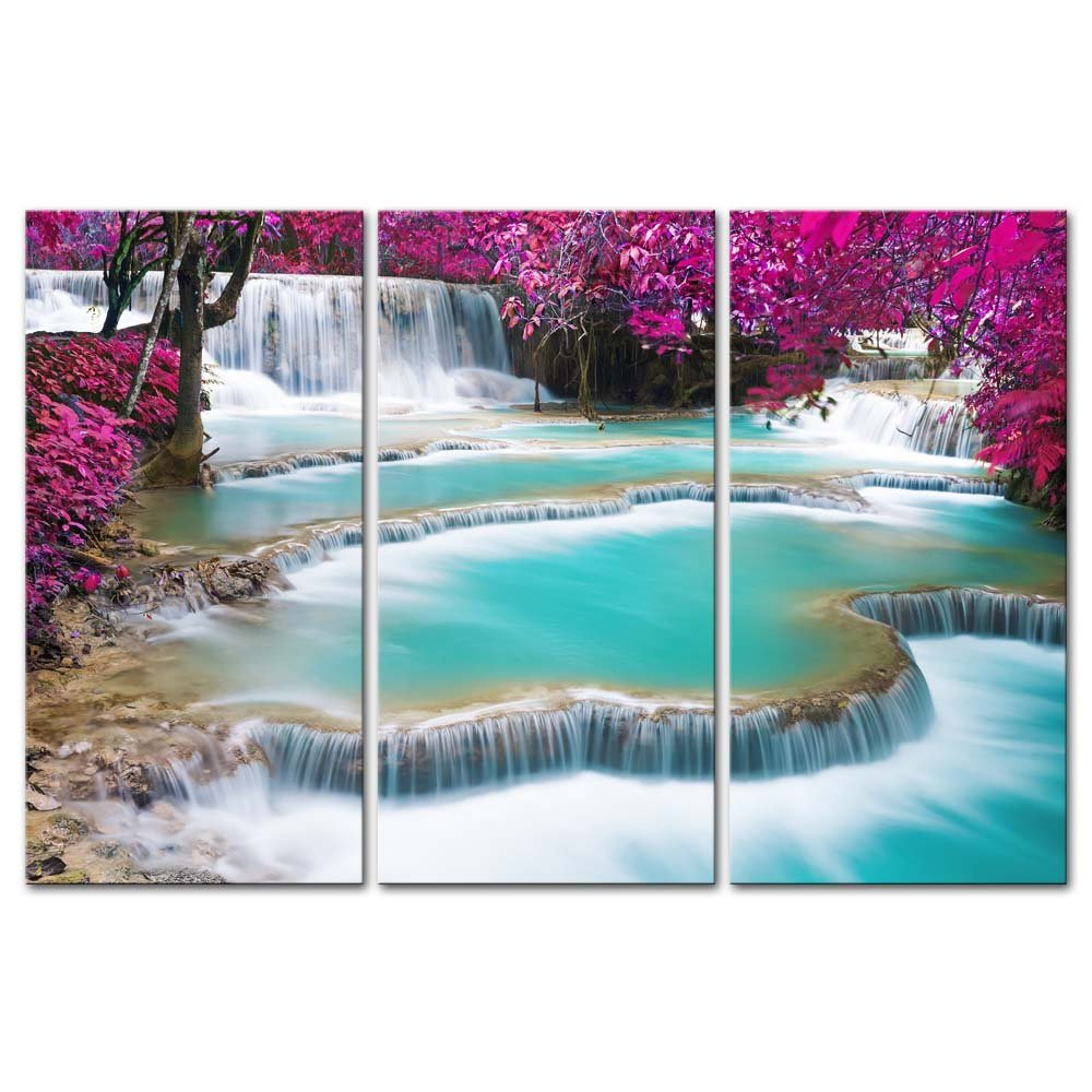 Wall Art Decor Poster Painting On Canvas Print Pictures 3 Pieces Turquoise Water of Kuang Si Waterfall Luang Prabang Laos Landscape Waterfall Framed Picture for Home Decoration Living Room Artwork