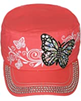 Women's Jewel Butterfly Embroidered Crystal Brim Cadet Military Cap Hat