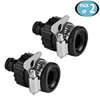 HOKIPO Universal Tap Connector Adapter Hose Pipe Fitting for Kitchen Gardening Car Washing Cleaning - Pack of 2