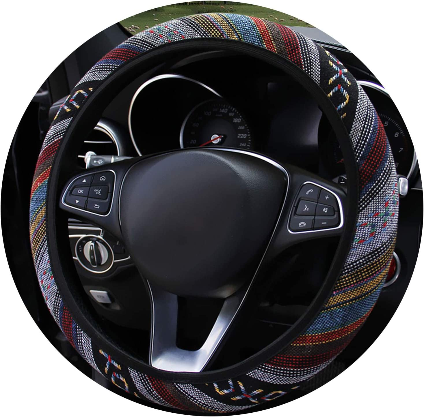 Boutique-girl Ethnic Style Car Steering Wheel Covers Auto Decoration Car Accessories Linen Universal