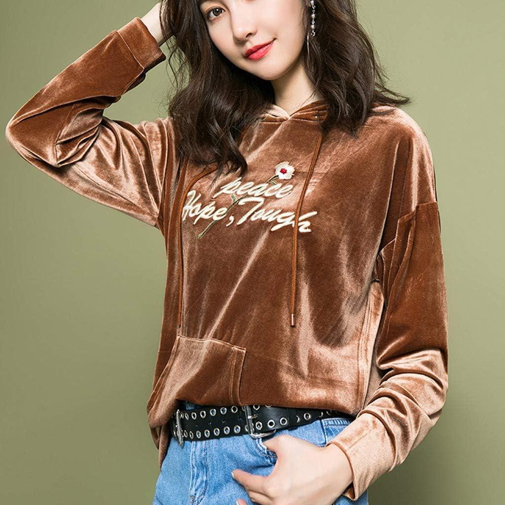 FAPIZI Women Autumn Crew Neck Long Sleeve Sweatshirts Tops Letter Printing Pocket Hoodies Pullover Crop Top