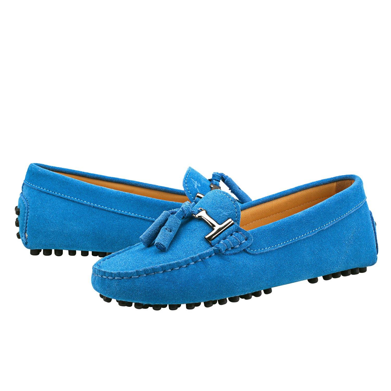Shenduo Damen Mokassins Lederschuhe Freizeit Slippers mit Metallschnallen und Blau Bällchen Sommer Schuhe D7057 Blau und 4be2d2