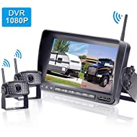 LeeKooLuu F07 HD 1080P Digital Wireless Rear View 2 Cameras for RVs,Trailers,Bus...