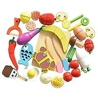 HOWADE Jeu de Nourriture Set 30 PCS, Coupe en Bois Alimentaire Fruits magnétiques légumes Ensemble de Cuisine Jouet éducatif Enfants d'âge préscolaire Enfants en Bas âge garçons Filles