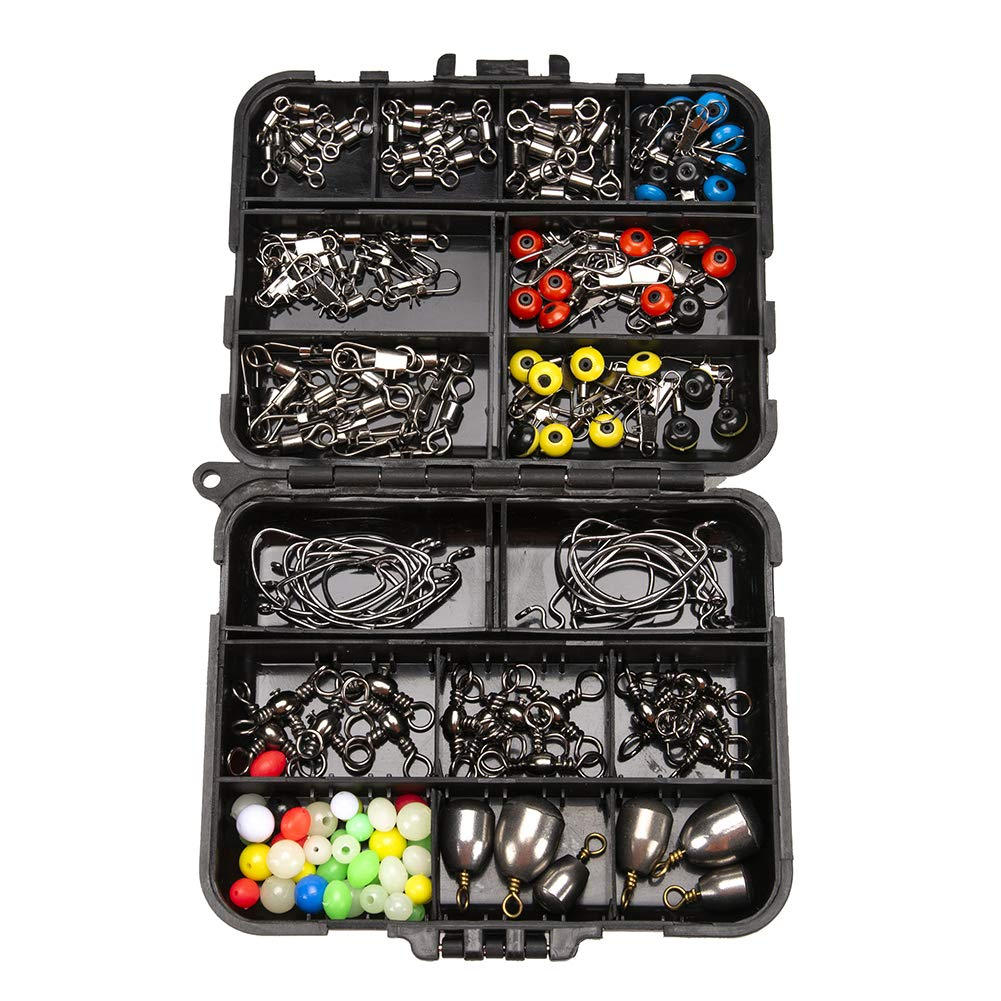 LBgrandspec Fishing Jig Hook Sinker Swivel Bead Fish Tackle Accessories Set with Box 160Pcs- by LBgrandspec