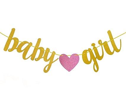 amazon com fecedy gold glitter baby girl banner for baby shower