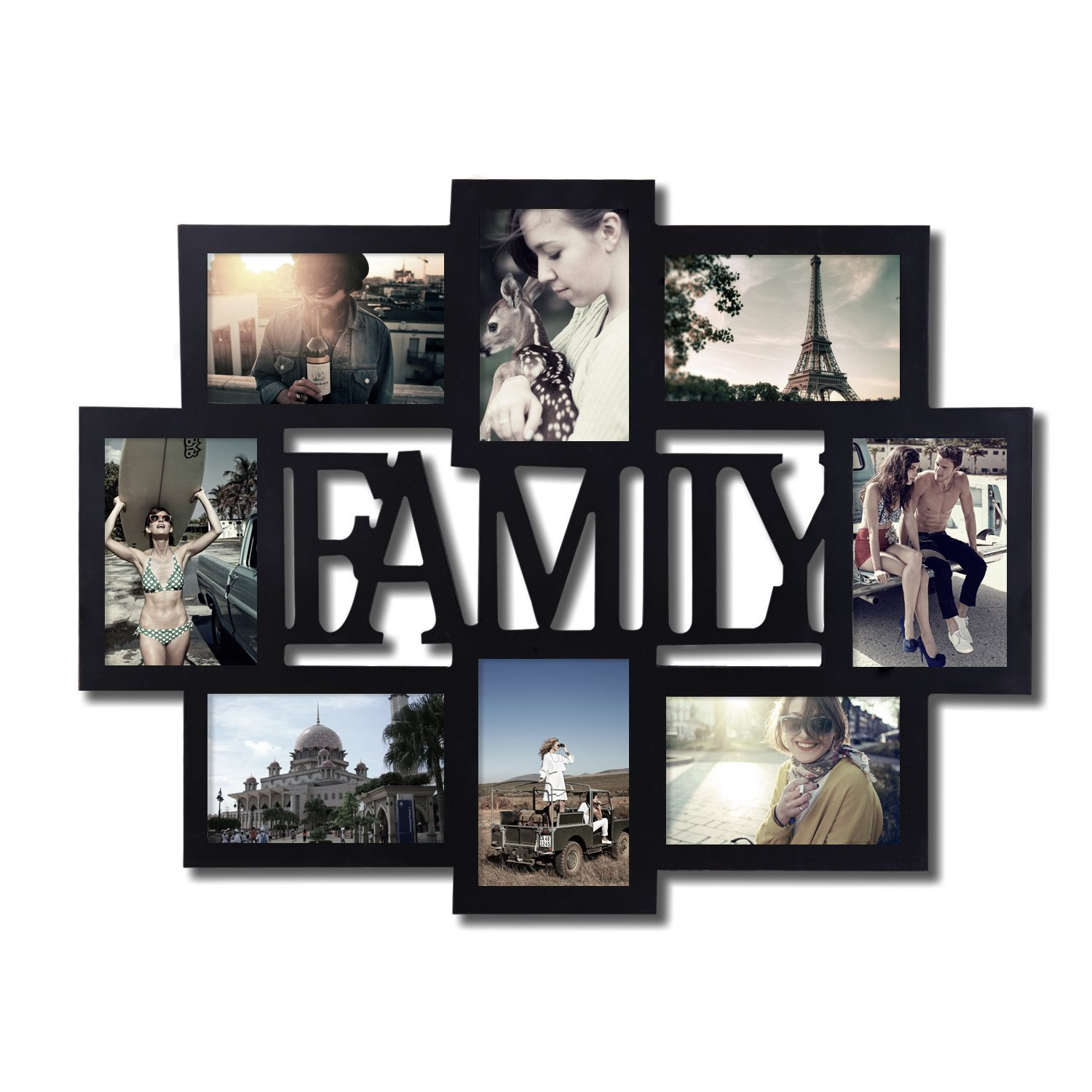Adeco pf0432 black wood family wall hanging collage photo frame 8 our partners jeuxipadfo Gallery