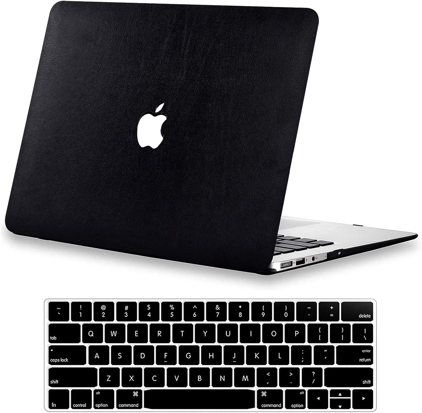 Compatible with MacBook Pro 13 Inch Case A1502 A1425 DTangLsm Slim Leather Hard Shell Case&Keyboard Cover Laptop Protective Cover Shell for 13'' MacBook Pro with Retina Display 2012-2015 Release,Black