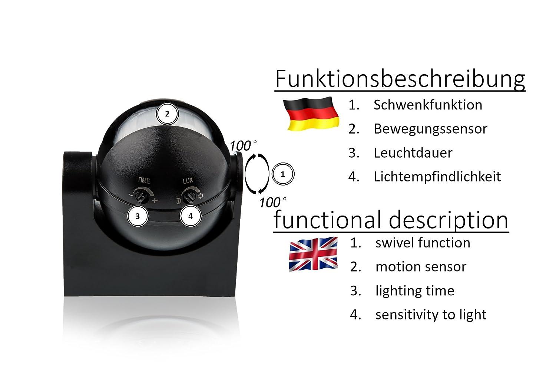 HUBER MOTION 2, Infrarot Bewegungsmelder 180°, schwarz, vertikal ...
