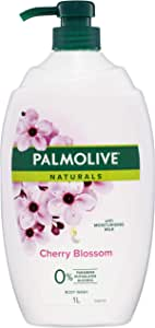 Palmolive Naturals Milk and Cherry Blossom Body Wash with Moisturising Milk 0 percentage Parabens Recyclable, 1L