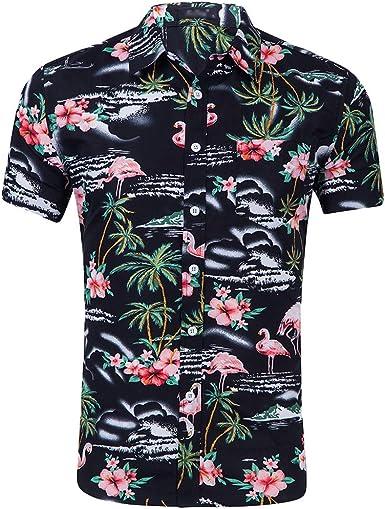 Kaiyei Hombre Camisa De Hawaiano Manga Corta Botones Flamenco Impresión De Flores Camisetas Estampadas Shirt Playa Fiesta Anchas Informales Tropicales Shirts: Amazon.es: Ropa y accesorios
