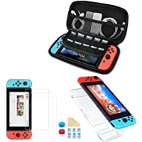 TBOYUAN 5 in 1 Switch Accessory Kit, Switch Lite with Nintendo Switch Case, Joy Con Transparent Housing, 3 Screen Glass…