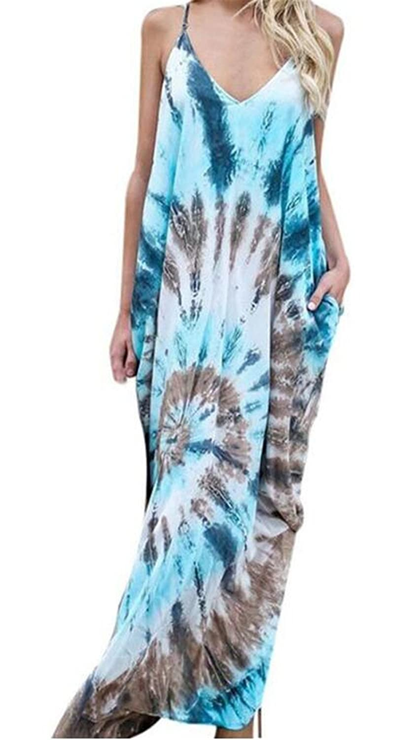 NANYUAYAKY Summer Boho Women V Neck Casual Beach Backless Long Dress
