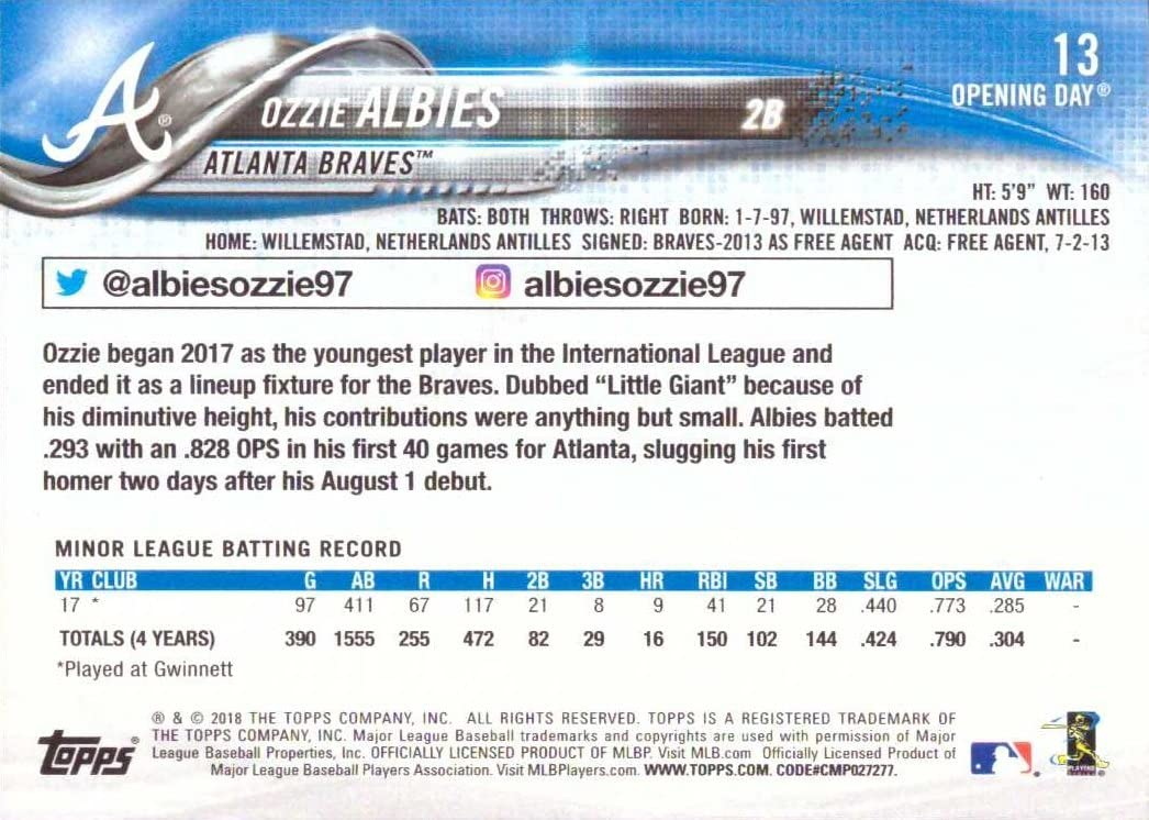 2018 Topps Opening Day Baseball #13 Ozzie Albies Rookie Card