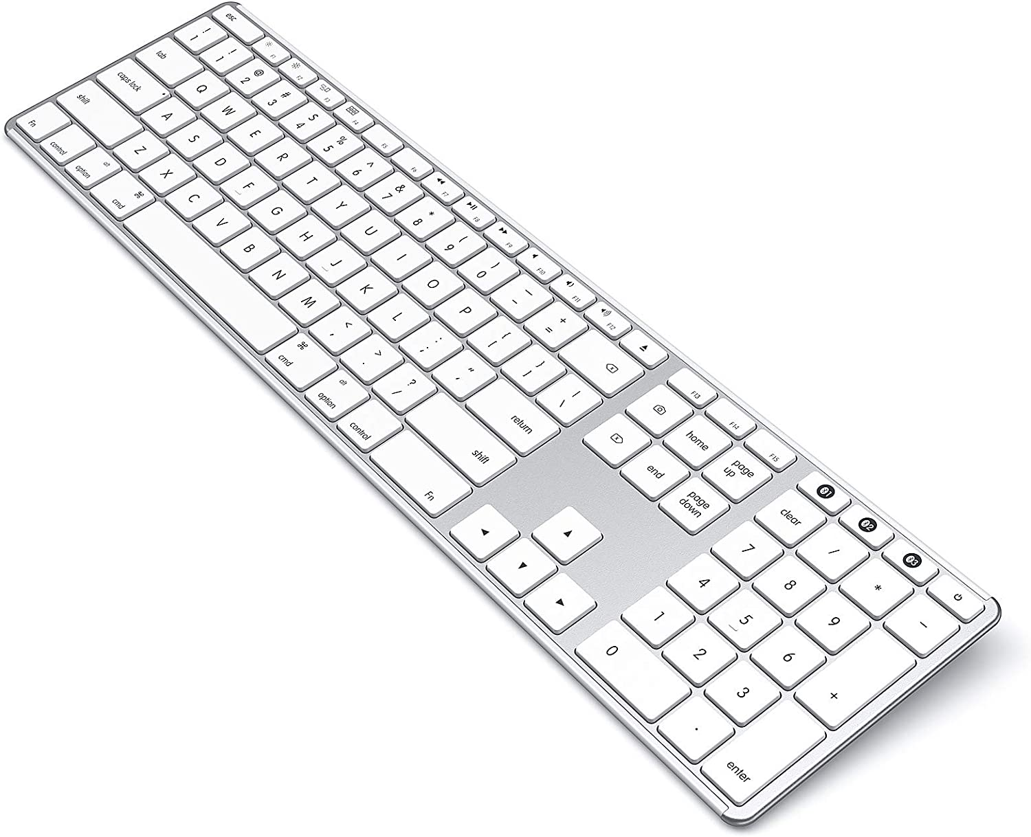 seenda Wireless Keyboard Compatible with Apple Mac - Multi-Device Bluetooth Keyboards Full Size Rechargeable Compatible for MacBook Pro/Air, iMac, iPhone, New iPad - White & Silver