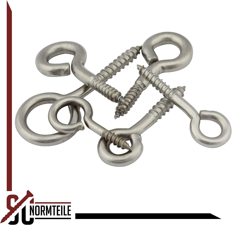 SC-Normteile/® 2 St/ück /Ösenschrauben mit Holzgewinde SC9079 Gewindel/änge: 13 mm 3,5 x 20 mm - - Ringschrauben - - aus Edelstahl A2 V2A