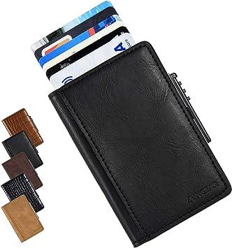Tarjetero Metalico Porta Tarjetas De RFID Pop Up Caja De Tarjeta De Crédito De Aluminio Bolsillo Trasero Cartera Delgada Bloqueo De RFID con Dos Bolsillos Adicionales para Hombres Y Mujeres: Amazon.es: Equipaje