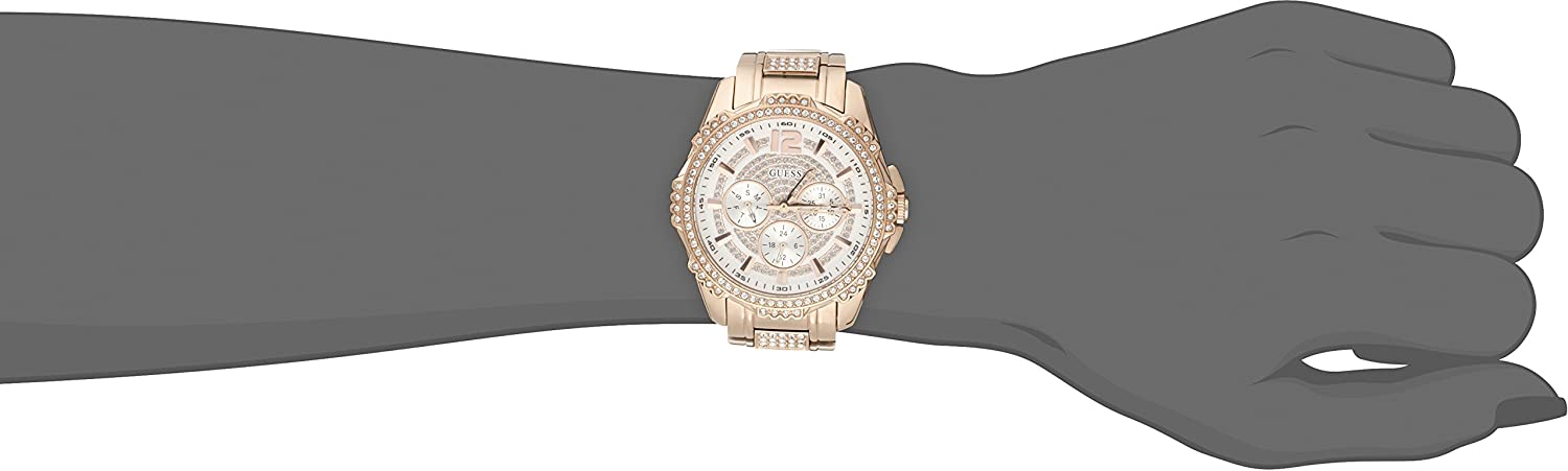 GUESS Women s U0286L2 Sporty Rose Gold-Tone Stainless Steel Watch with Multi-function Dial and Pilot Buckle