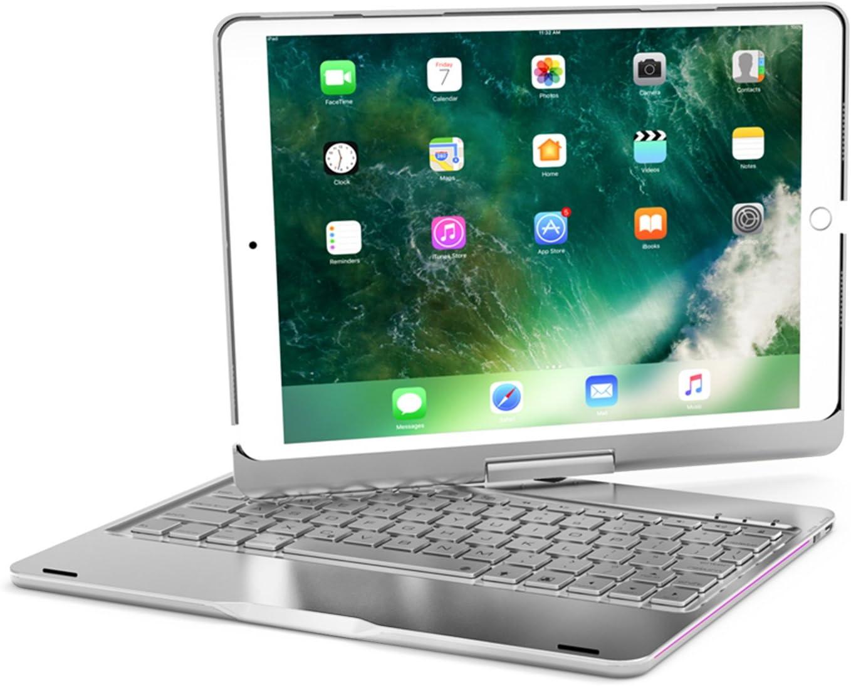 ELTD iPad Pro 10.5 Teclado Estuche [QWETY English Layout], Apple iPad 10.5 Funda de Teclado, Rotativo de 360 grados Aluminio Funda Con 7 colores de retroiluminación inalámbrico Teclado para Apple iPad Pro