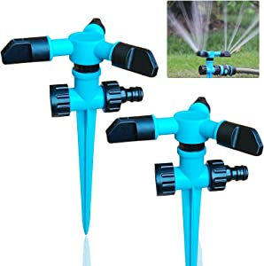 JYHOO (2 Pieces) Garden Lawn Sprinkler, 360 Degree Automatic Rotation Irrigation, Ground Cover Courtyard Automatic Sprinkler, Garden, Lawn, Yard, Children Play time, Outdoor