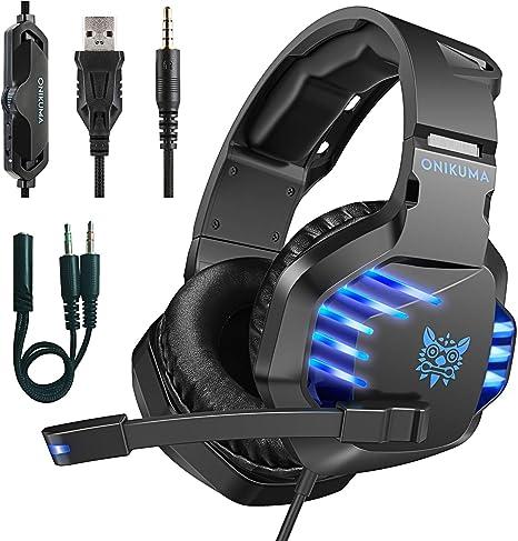 ONIKUMA Auriculares Gaming PS4, Auriculares para Juegos con Microfono Premium Stereo, Cascos Gaming Reducción de Ruido Compatible Xbox one/ PC/Mac/PS4/PS Vita/Nintendo Switch/Smartphone: Amazon.es: Videojuegos