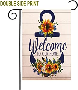 ZUEXT Welcome to Our Home Sunflower Cotton Linen Garden Flag Vertical Double Sided, House Yard Flag Floral,Autumn Happy Harvest Garden Yard Decorations 12.5x18 Inch for Thabksgiving Wedding Gifts