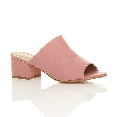 0a7def56dae46 Ajvani Womens Ladies Block mid Heel 90's peep Toe Slip on Backless Mule  Sandals Shoes Size
