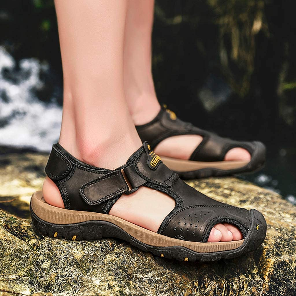 OFEFAN Mens Sports Leather Sandals Outdoor Beach Water Sandal Fisherman Athletics Shoes