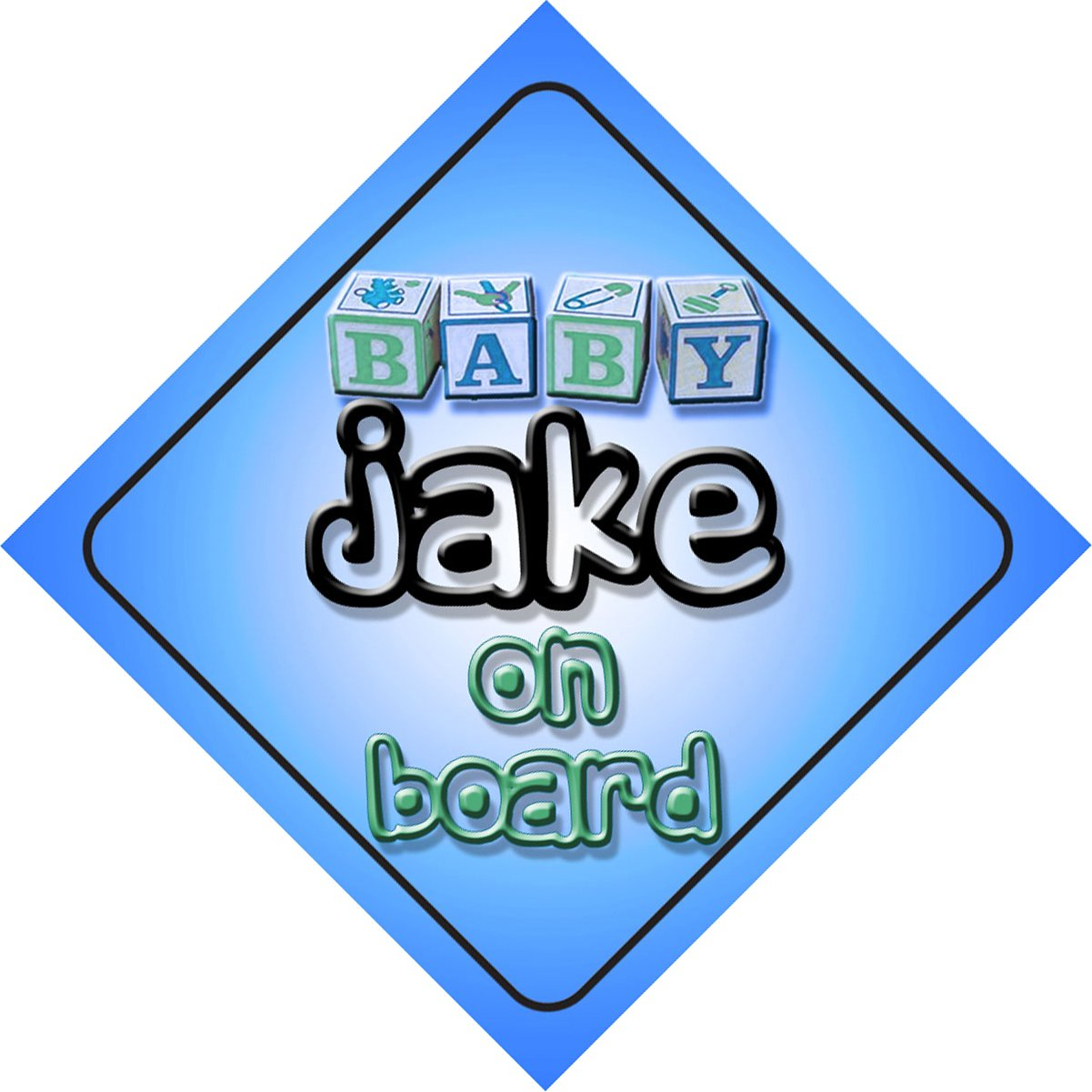 Baby Boy Jake on board novelty car sign gift/present for new child/newborn baby by mybabyonboard UK   B008D1ENKQ
