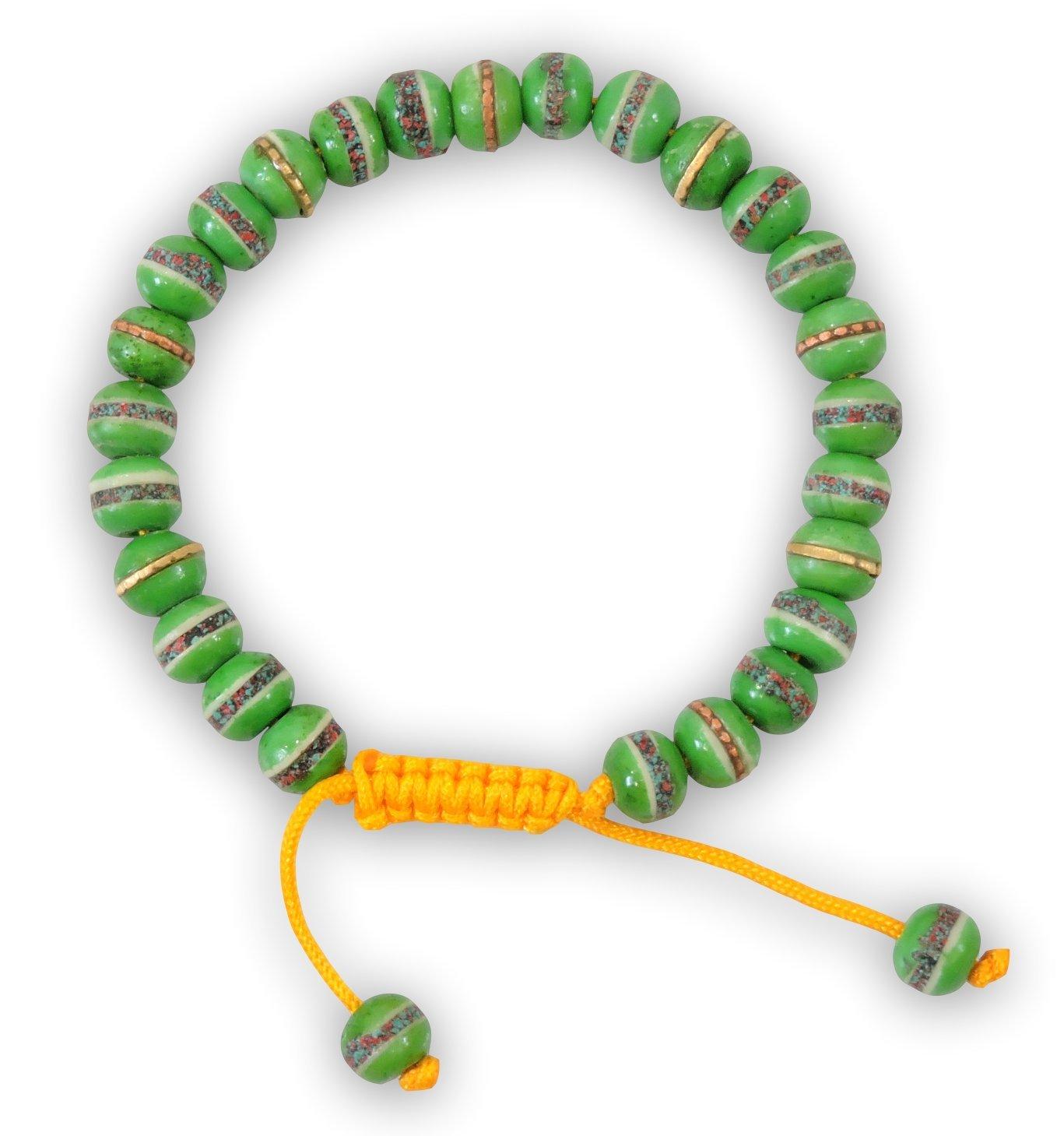 Tibetan Mala Embedded Medicine Wrist Mala for Meditation Handmade Draw String Silk Pouch (green medicine)