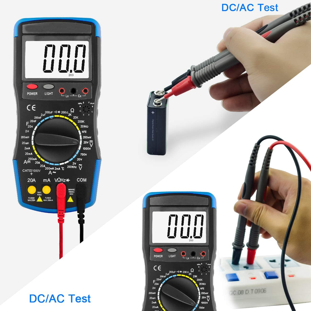 Resistance AC/&DC Current Voltmeter Temperature for electrical system Inductance Testing Capacitance Continuity ANNMETER AN-760C Digital Multimeter- Volt Ohm Amp DMM Tester Diode
