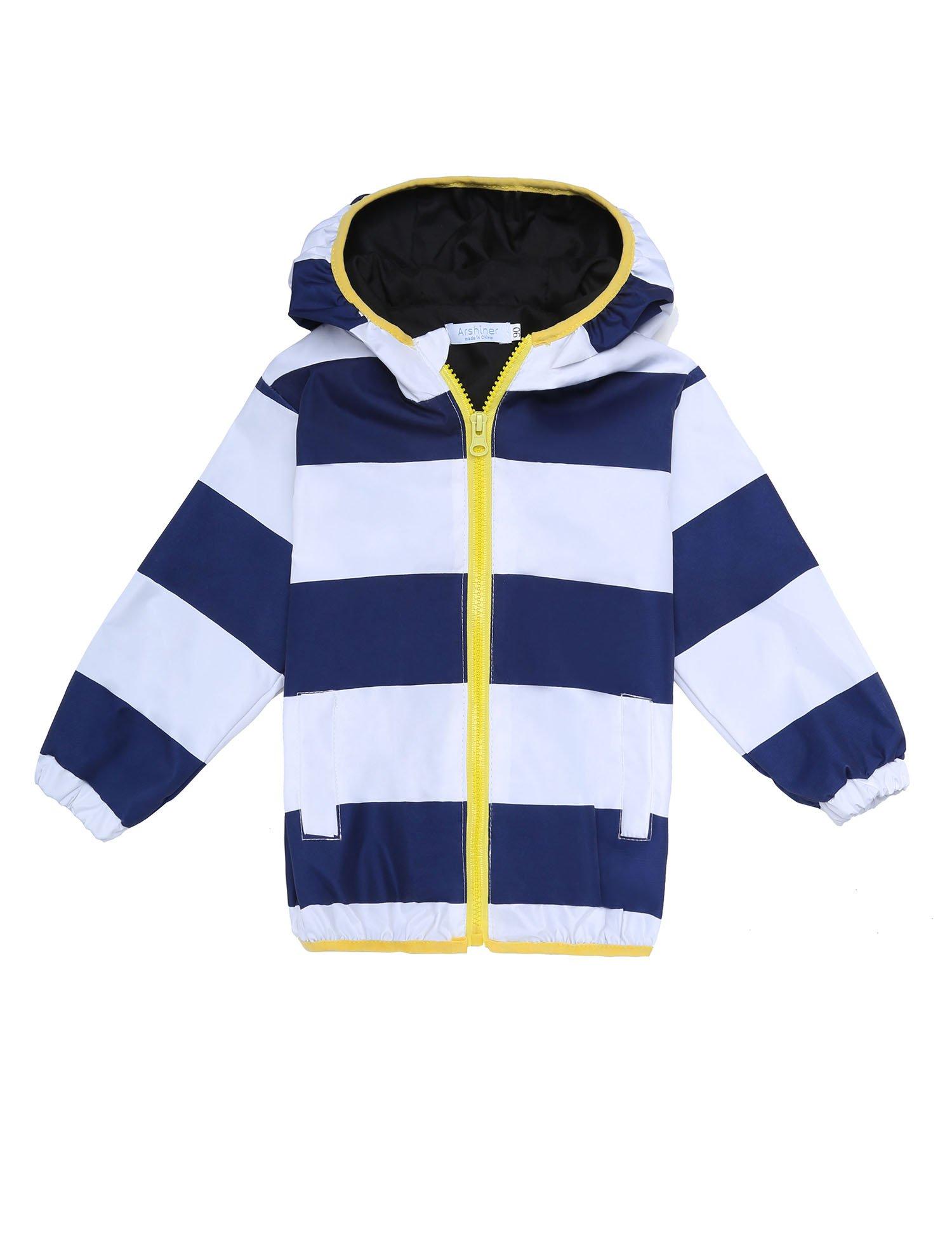 Arshiner Kids Rain Jacket Coat Hoodie Outwear (120(4-5Y), Blue and White)
