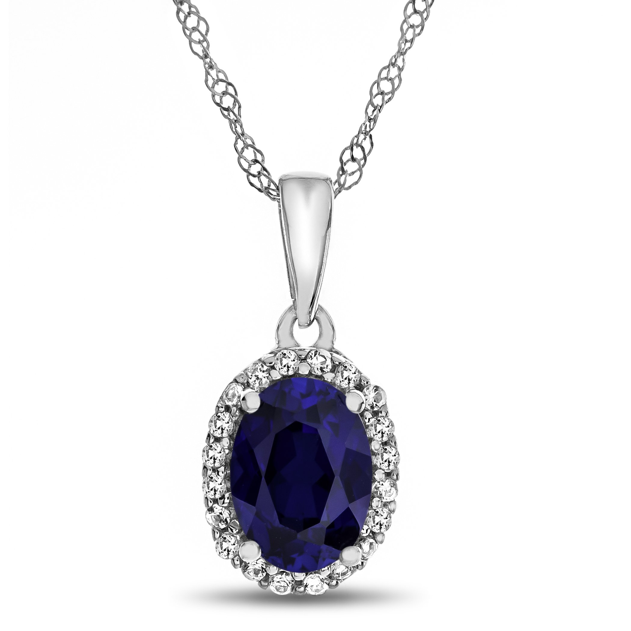 Finejewelers 10k 7x5mm Oval Created Sapphire with White Topaz accent stones Halo Pendant Necklace