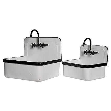 Amazon.com: Juego de 2 macetas de metal para fregadero con ...