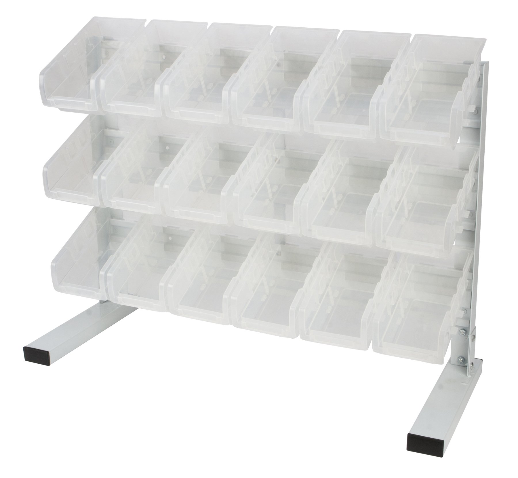Performance Tool W5170 18pc Clear Plastic Patented Dual Angle Tilt Storeage Bins, Rack for Crafts Hardware, Sewing, Art Supplies and More