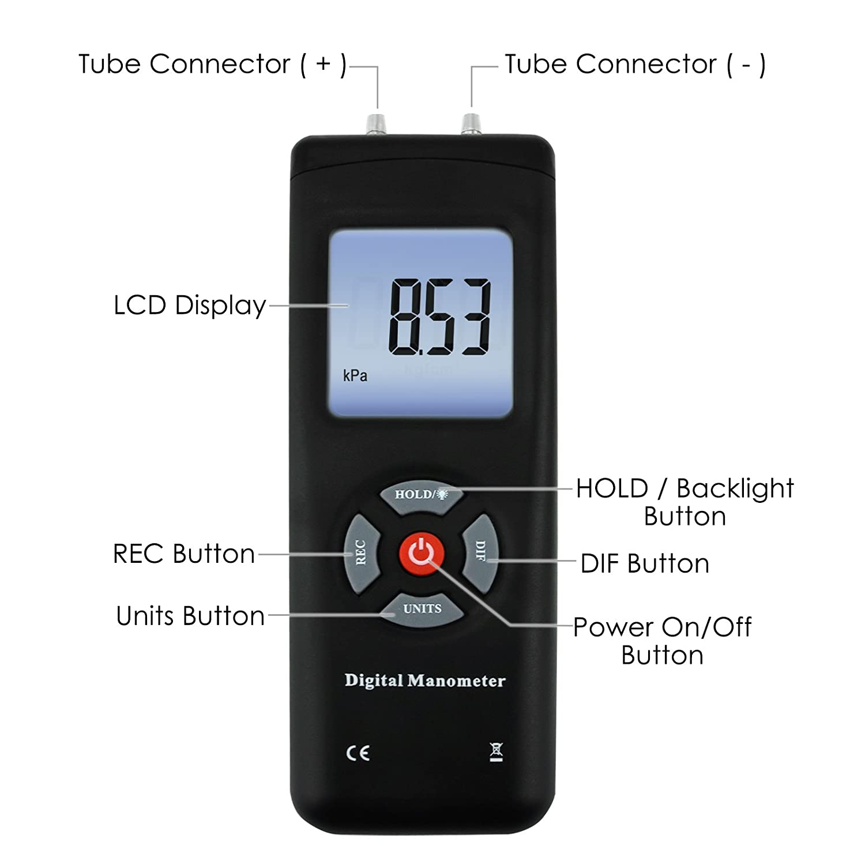 Manom/ètre de Digital vide tenu dans le m/ètre de mesure portatif de pression dair//gaz