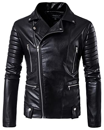 478f1c544b65 YYZYY Mens Classic Black Retro Cool Casual Zipped PU Leather Brando Style  Motorcycle Bomber Biker Jacket