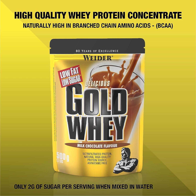 Weider Gold Whey Sabor Chocolate - 500 gr. Concentrado de Proteina de Suero de la más alta calidad. Fácil absorción y digestión. Con un extra de BCAA.