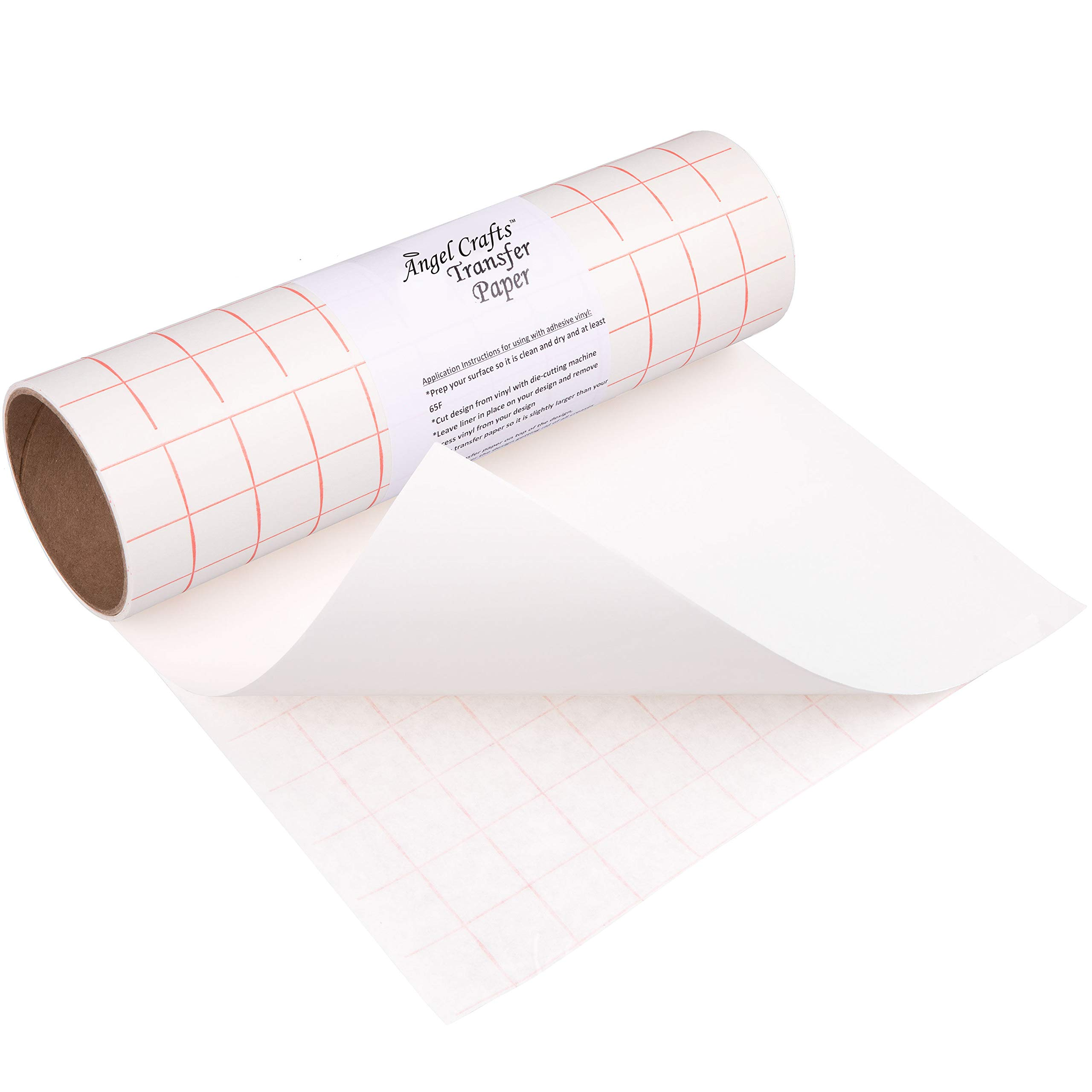 Angel Crafts Transfer Paper Tape: Craft Transfer Tape for Vinyl Application with Red Grid Lines - Self Adhesive Transfer Paper Roll Compatible with Cricut, Silhouette Cameo - 12 Inch by 8 Feet, White by Angel Crafts