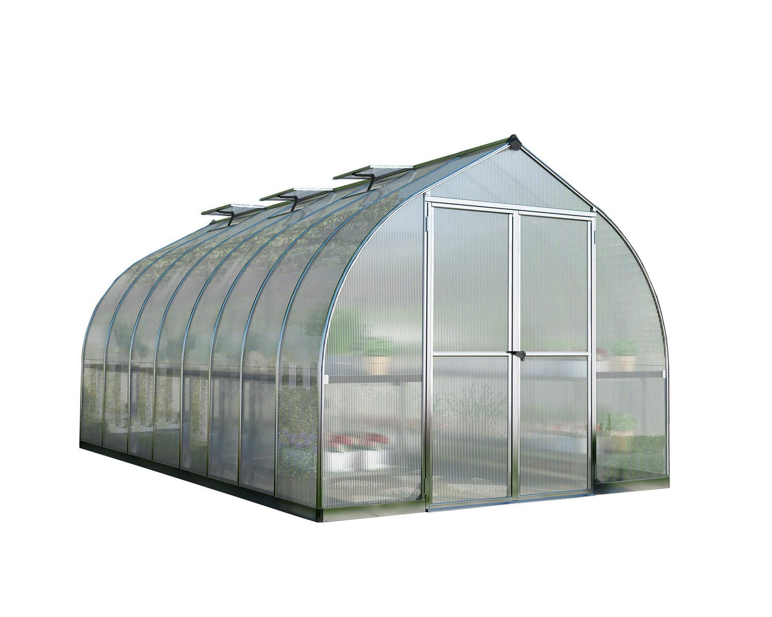 Palram Bella Hobby Greenhouse, 8' x 16', Silver with Twin Wall Glazing