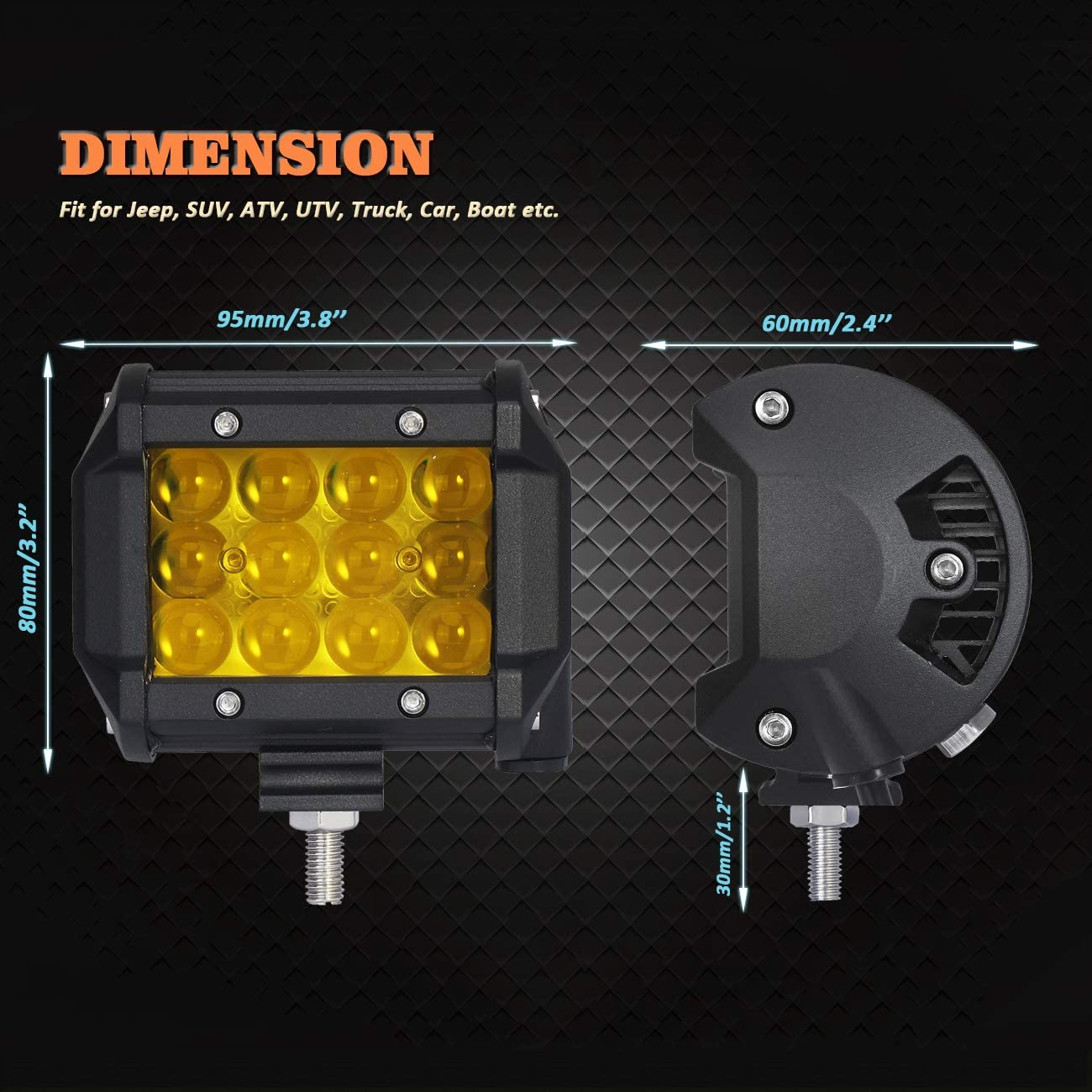 4 Inch 18W Truck Lights Off Road Light Bar with 4D Lens 12v Led Driving Pod Light Bars for SUV Jeep Boats,etc pack of 2